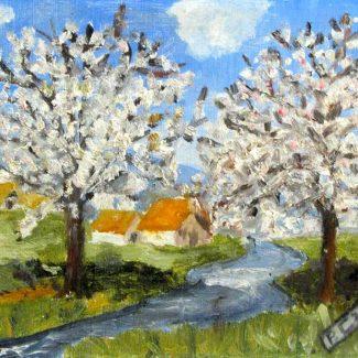 ALMENDROS. Óleo sobre tela, 27 x 22 cm, 1956.