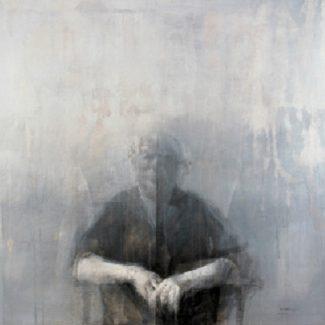 RETRATO DE MI MADRE. Temple y carbón sobre tela, 120 x 130 cm, 1969.