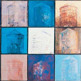 WATER TANK. Óleo sobre tela, 62 x 145 cm, 1987.