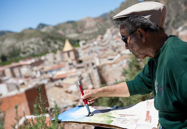 Pedro Cano pintando en Blanca